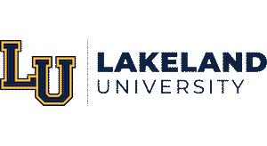 Lakeland University Logo, Text with LU to the left.
